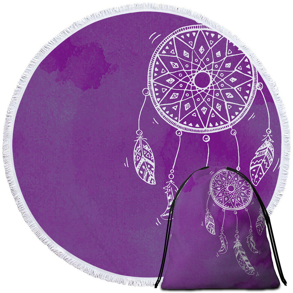 White Dreamcatcher Purple Round Beach Towel Set - Beddingify