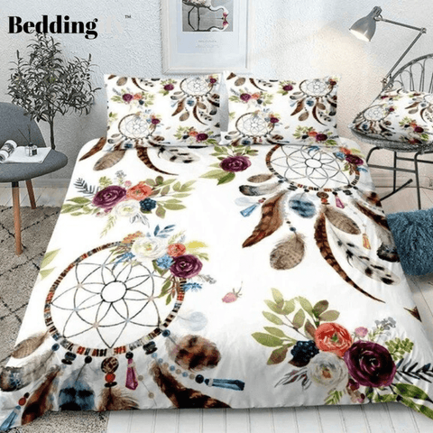 Image of Boho Feathers DreamCatcher Bedding Set - Beddingify