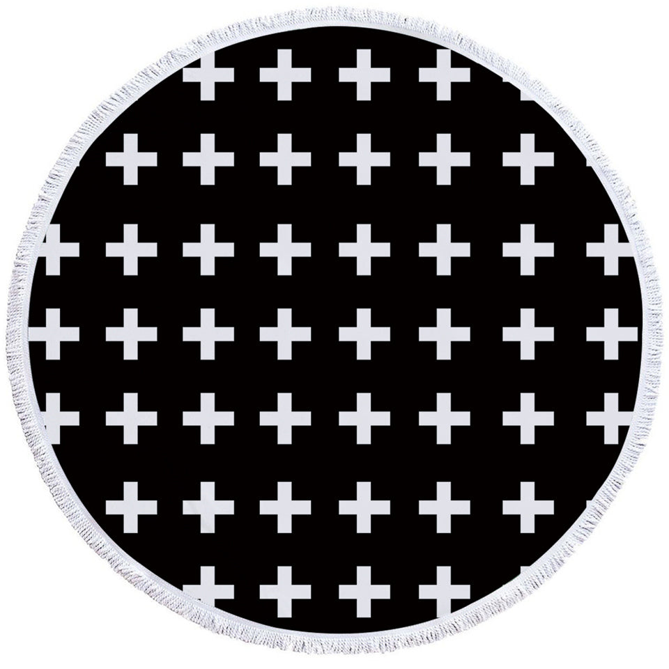 White Cross Patterns Black Round Beach Towel Set - Beddingify
