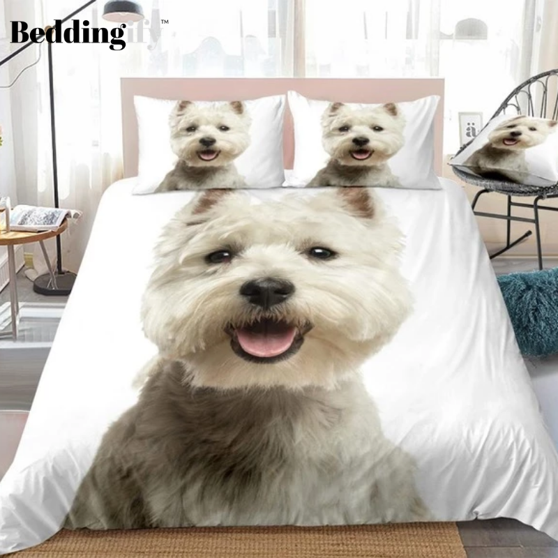 White Terrier Bedding Set - Beddingify