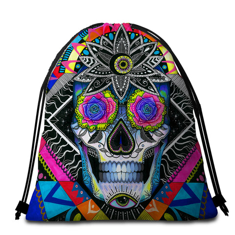 Image of Gaudy Skull Lord Round Beach Towel Set - Beddingify