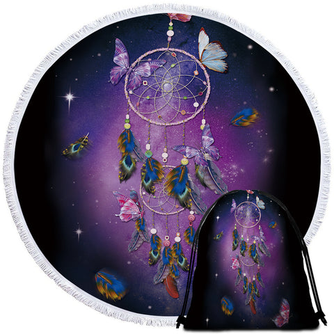 Image of Feathery Butterfly Dreamcatcher Round Beach Towel Set - Beddingify