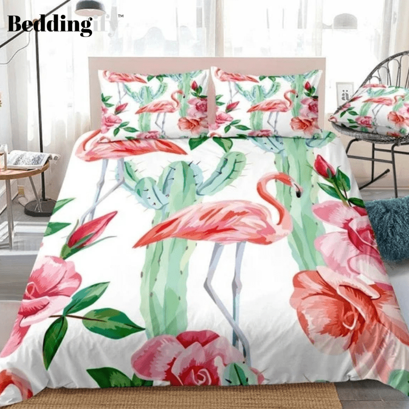 Tropical Flamingo Cactus Bedding Set - Beddingify