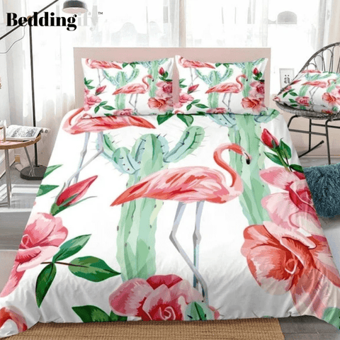 Image of Tropical Flamingo Cactus Bedding Set - Beddingify