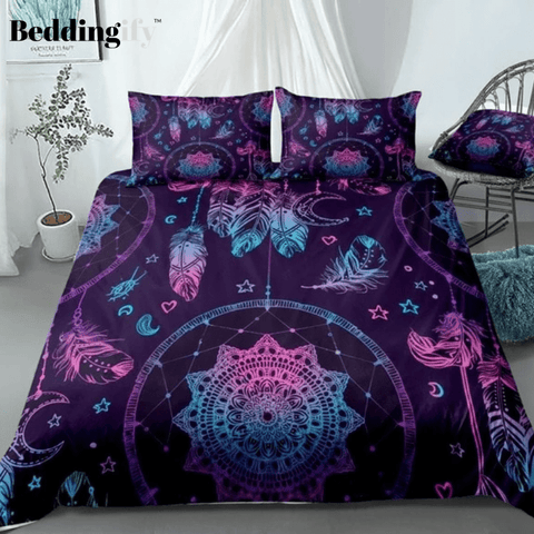 Blue Purple Dreamcatcher with Feathers and Moon Bedding Set - Beddingify