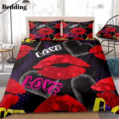 Image of Red Lips Geometric Bedding Set - Beddingify