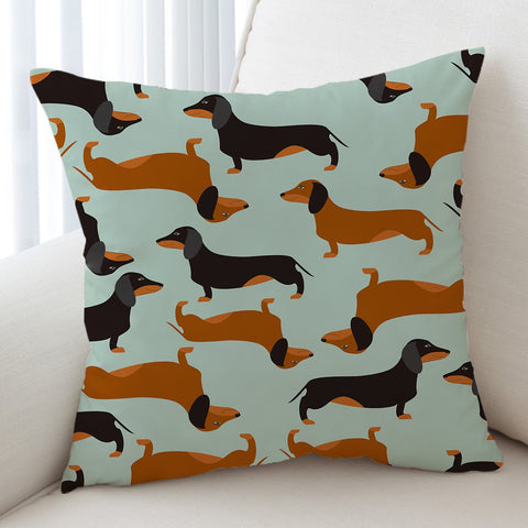 Image of Cartoon Dachshund Cushion Cover - Beddingify