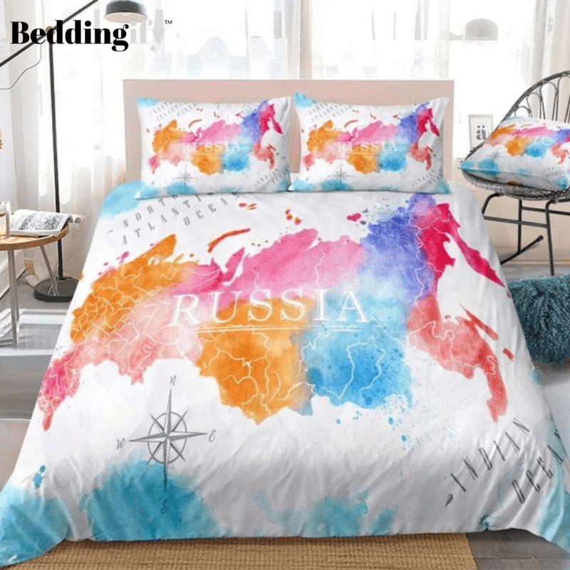 Colorful Watercolor Abstract Russia Map White Bedding Set - Beddingify