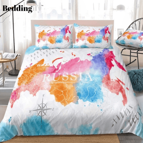 Image of Colorful Watercolor Abstract Russia Map White Bedding Set - Beddingify