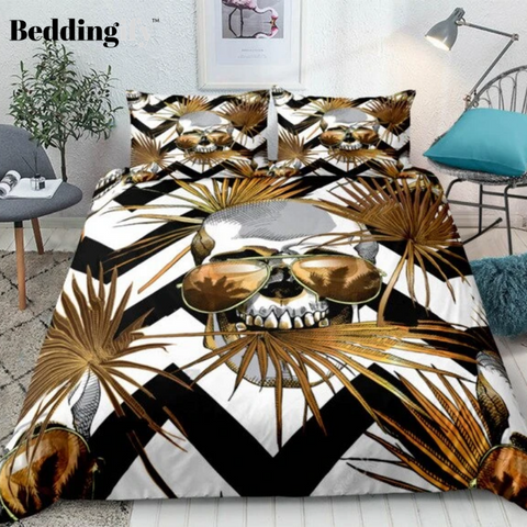 Image of Gothic Gold Skull Bedding Set - Beddingify