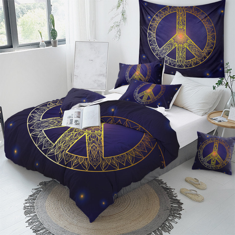 Peace Sign Starry Bedding Set - Beddingify