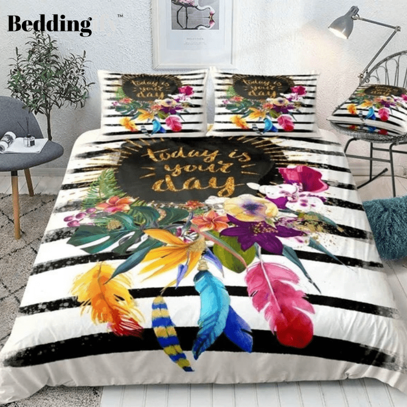 Black Stripe Floral Bedding Set - Beddingify