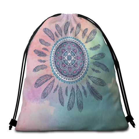 Image of Feathery Mandala Dreamy Round Beach Towel Set - Beddingify
