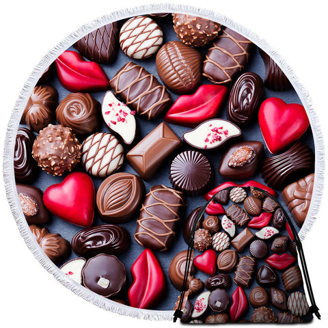 Image of 3D Chocolate Pieces Round Beach Towel Set - Beddingify