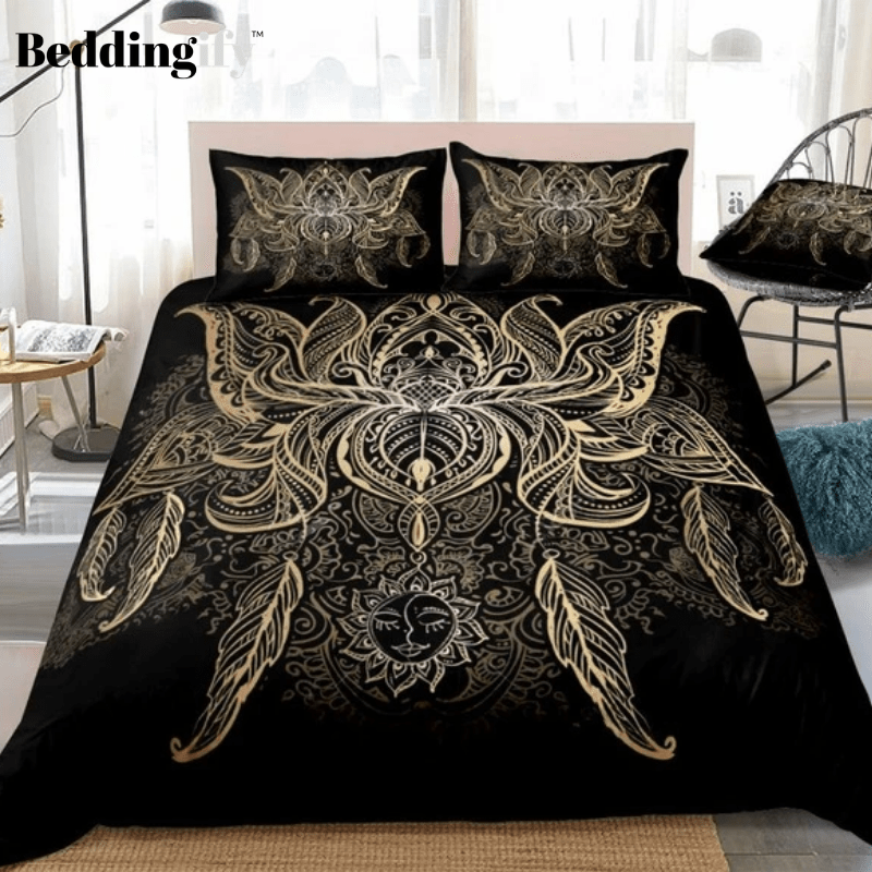 Lotus Flower Bohemian Bedding Set - Beddingify