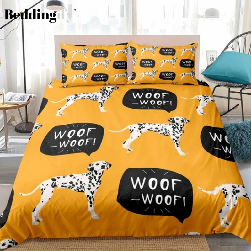 Black White Dogs Woof-Woof Bedding Set - Beddingify