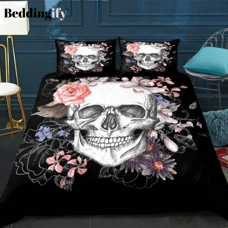 Floral Skull Print Bedding Set - Beddingify