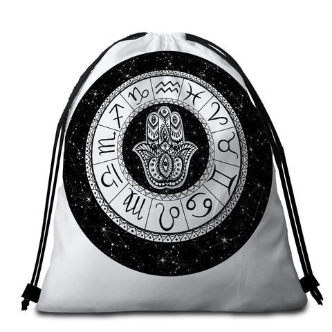 Image of Zodiac Signs Round Beach Towel Set - Beddingify