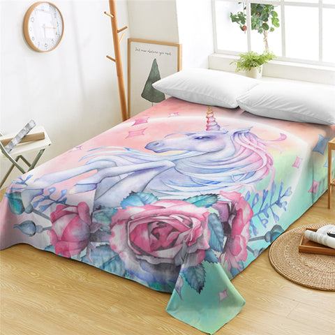 3D Unicorn Dreamy Flat Sheet - Beddingify
