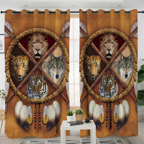 Image of Wolf Tiger Lion Leopard Dream Catcher 2 Panel Curtains
