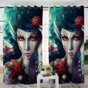 Aquatic Mermaid 2 Panel Curtains