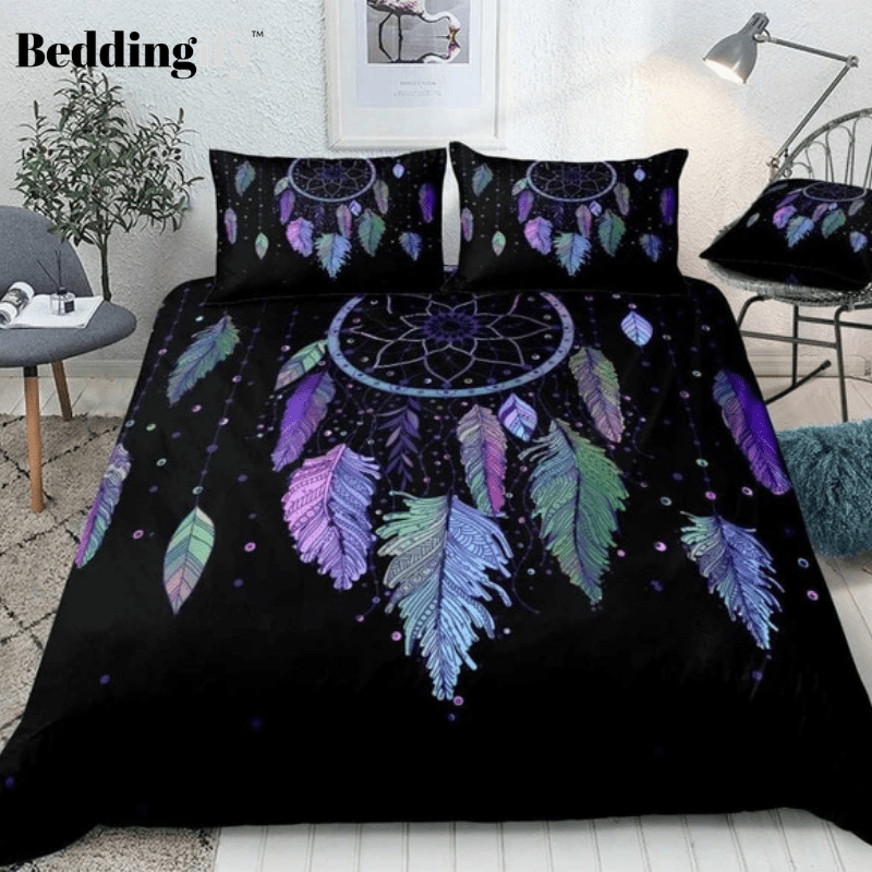 Colorful Vibrant Feathers Dreamcatcher Bedding Set - Beddingify