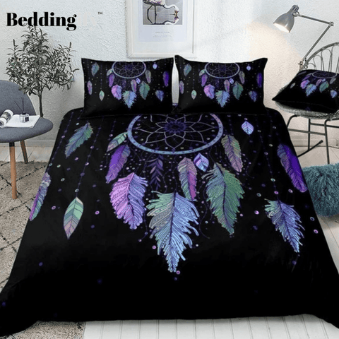 Image of Colorful Vibrant Feathers Dreamcatcher Bedding Set - Beddingify