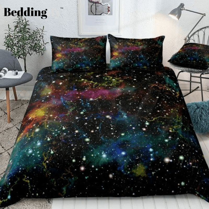 Multicolor Outer Space Bedding Set - Beddingify