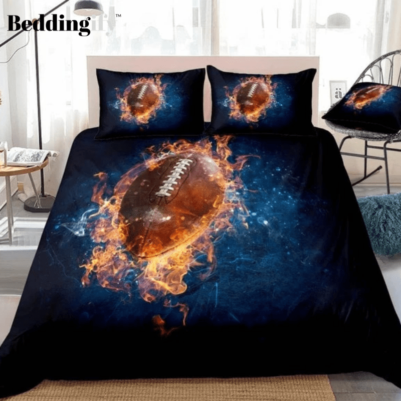 3D American Football Fire Rugby Bedding Set - Beddingify
