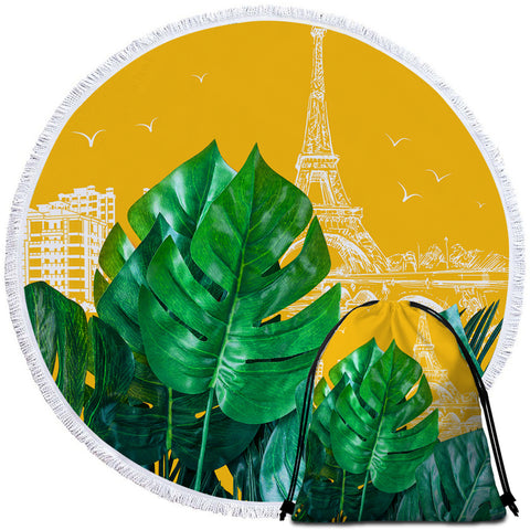 Image of 3D Leaves Paris Round Beach Towel Set - Beddingify
