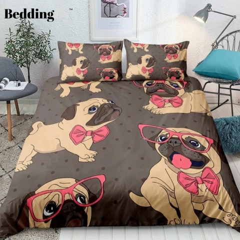 Image of Cartoon Pug Dog with Pink Glasses Bedding Set - Beddingify