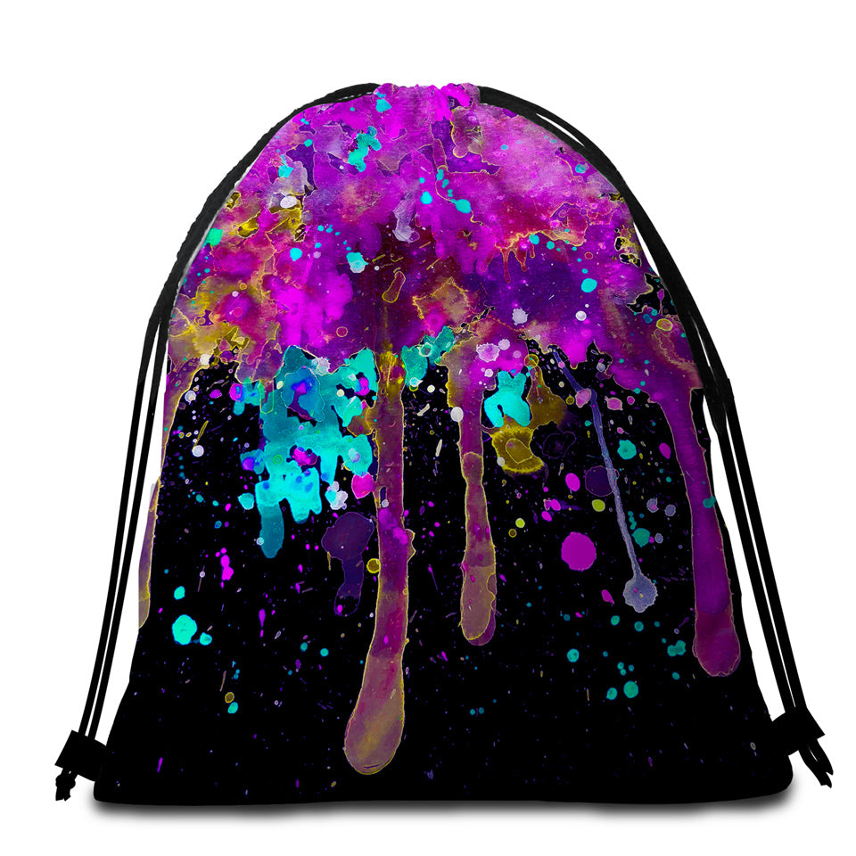 Negative Color Splashed  Round Beach Towel Set - Beddingify
