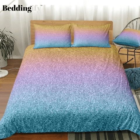 Image of Yellow Blue Multicolored Glitter Bedding Set