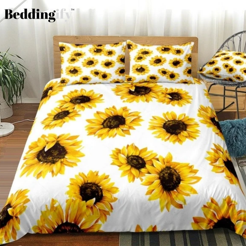 Yellow Sunflowers White Background Bedding Set - Beddingify