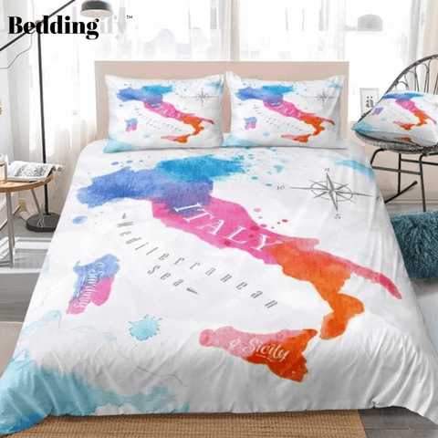 Watercolor Abstract Italy Map Bedding Set - Beddingify