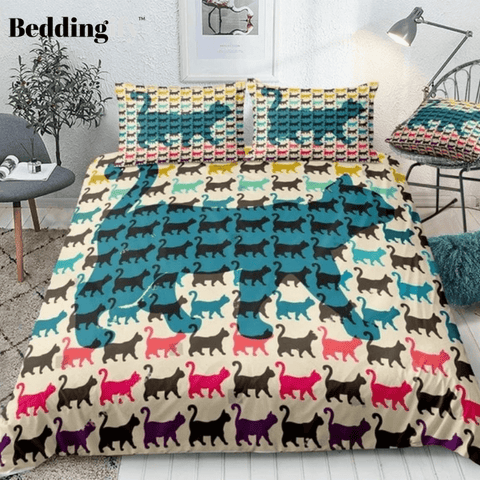 Image of Cats with Curved Tails Bedding Set - Beddingify