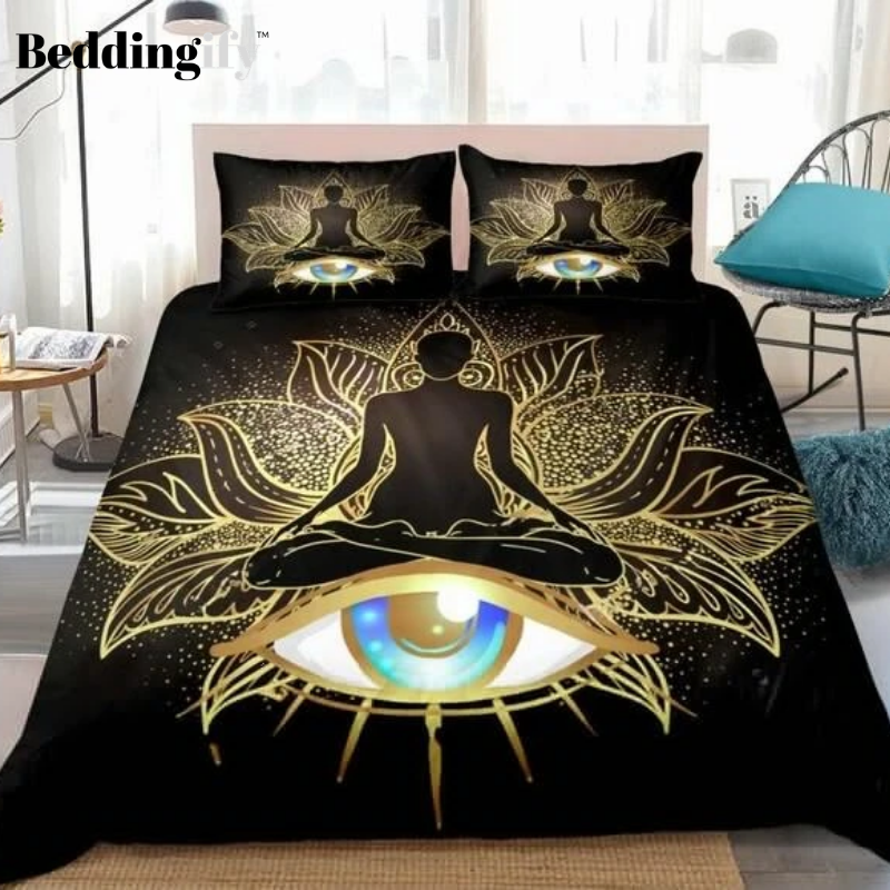 Gold Buddha Eye Mandala Bedding Set - Beddingify