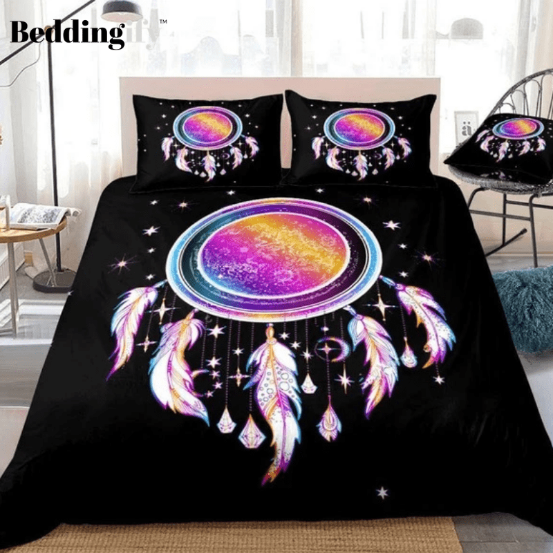Rainbow Dreamcatcher Stars Feathers Bedding Set - Beddingify