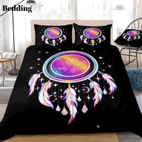 Image of Rainbow Dreamcatcher Stars Feathers Bedding Set - Beddingify