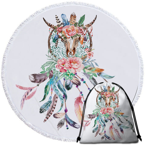 Image of Flowery Trophyhead Dreamcatcher Round Beach Towel Set - Beddingify