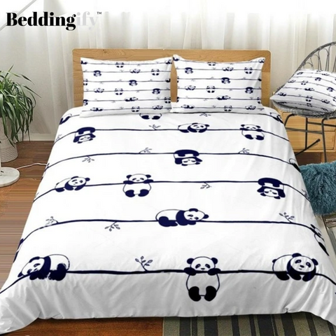 Cute Little Panda in Different Poses Bedding Set - Beddingify