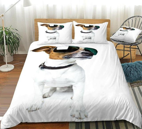 Image of 3D White Dog with Sunglasses Comforter Set - Beddingify