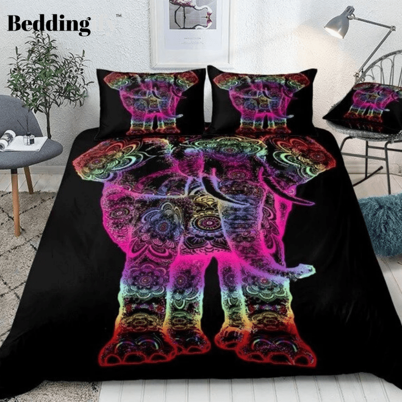 Colorful Boho Elephant Mandala Bedding Set - Beddingify