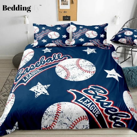 Image of Baseballs with Star Sports Bedding Set - Beddingify
