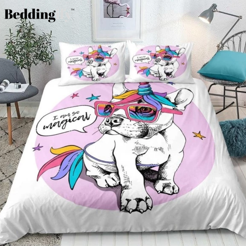 Unicorn Bulldog Comforter Set - Beddingify