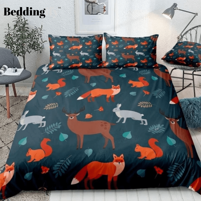 Forest Animals and Autumn Leaves Bedding Set - Beddingify