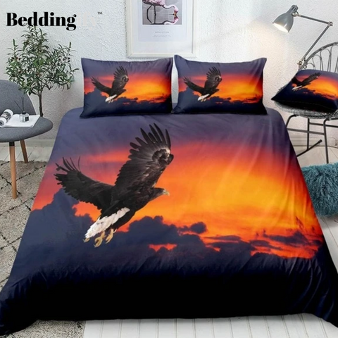 Image of Flying Black Eagle Bedding Set - Beddingify