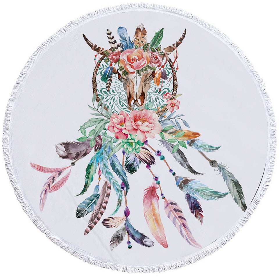 Flowery Trophyhead Dreamcatcher Round Beach Towel Set - Beddingify