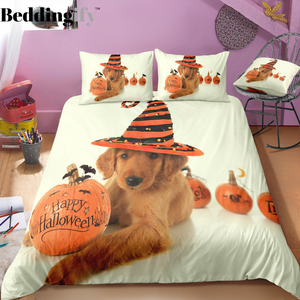Dog and Pumpkin Halloween Bedding Set
