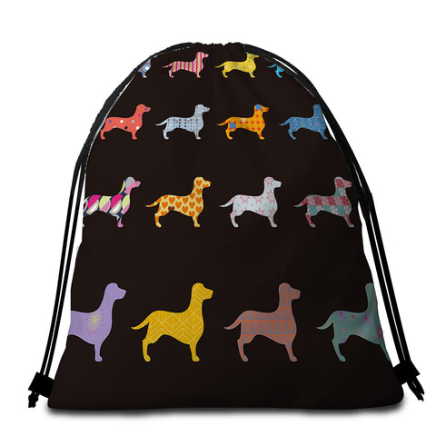 Image of Dachshund Colorful Patterned Round Beach Towel Set - Beddingify
